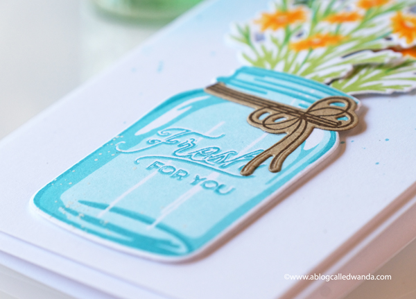 The Greetery new release destination summer july 2020. Budding Beauties Summer stamp set, Sprinkled with Kindness stamps and dies, Petite Eucalyptus stamp set and dies. Mason jar stamp set from the Greetery. Slimline card. Distress ink background. Card layouts flowers. Wanda Guess
