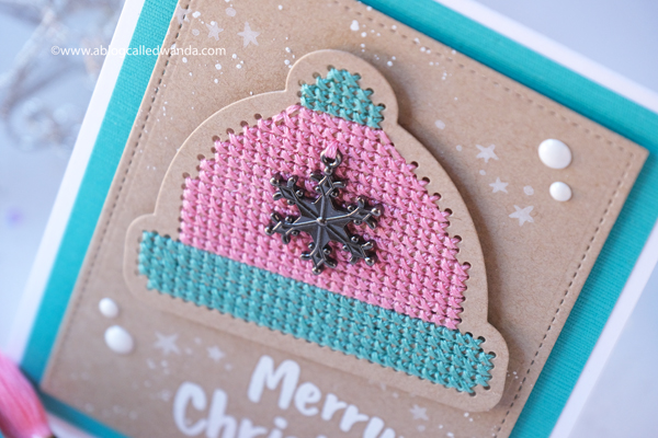 Waffle Flower Stitchables dies, new release, cross stitching on paper, Rainbow Heart, Christmas card, Cross Stitching, handmade card ideas, Waffle Flower blog hop Wanda Guess