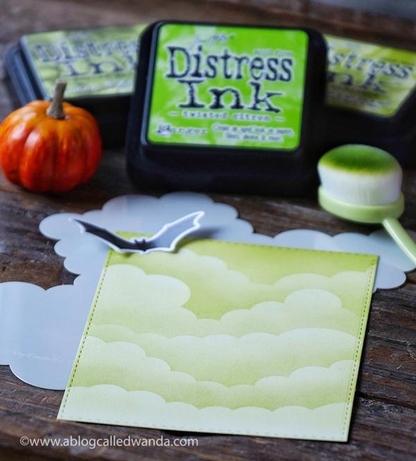 MFT Rolling Cloud Stencil and distress ink blending