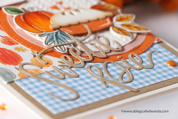 mft stamps, my favorite things stamps and dies, mft sweetie pie, mft autumn blessings, fall card, autumn card, dies, stamps, copics, card layout, taylored expressions cable knit embossing folder, gingham, echo park happy fall, carta bella hello autumn, patterned paper, pumpkin pie, handmade card ideas, wanda guess, a blog called wanda