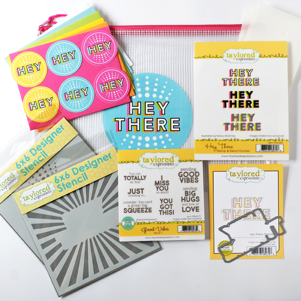 Taylored Expressions Hey There Card Kit! New card kit launch. Taylored Expressions stamps and dies. Card ideas by Wanda Guess. Stamps, stencils, dies...