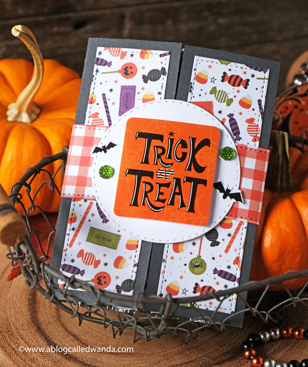 Halloween card ideas. Lawn Fawn Shutter card and Echo Park I Love Halloween Paper. Card ideas. Interactive cards. Halloween diy ideas. Wanda Guess