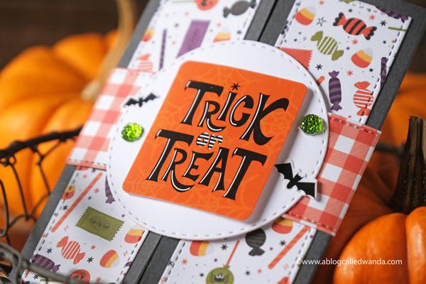 Halloween card ideas. Lawn Fawn Shutter card and Echo Park I Love Halloween Paper. Card ideas. Interactive cards. Halloween diy ideas. Wanda Guess
