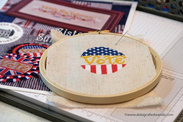 cross stitching, cross stitch, summer house stitche workes, stitched modern, sister suffragette pattern, voting pin, vote cross stitch, handmade pin, rock the vote, easy cross stitch, wanda guess