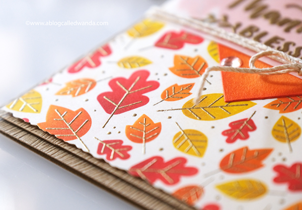 Taylored Expressions Fall Foliage Background, Taylored Expressions Handlettered stamps, stamping, die cutting, Thanksgiving card, Leaves, Stencils, Distress Inks, Blender Brushes, handmade card ideas, card layouts, Wanda Guess, A Blog Called Wanda