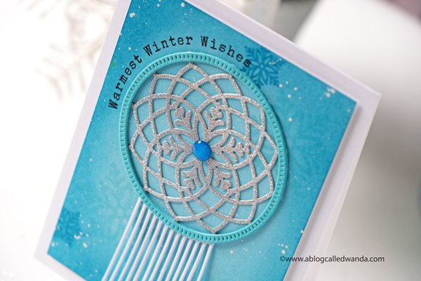 The Greetery new release Winter Wanderer Collection. Catching Snowflakes, Dream Catcher, Boho, Winter, handmade cards, ink blending, new release, Hoop and Fringe dies, Wanda Guess