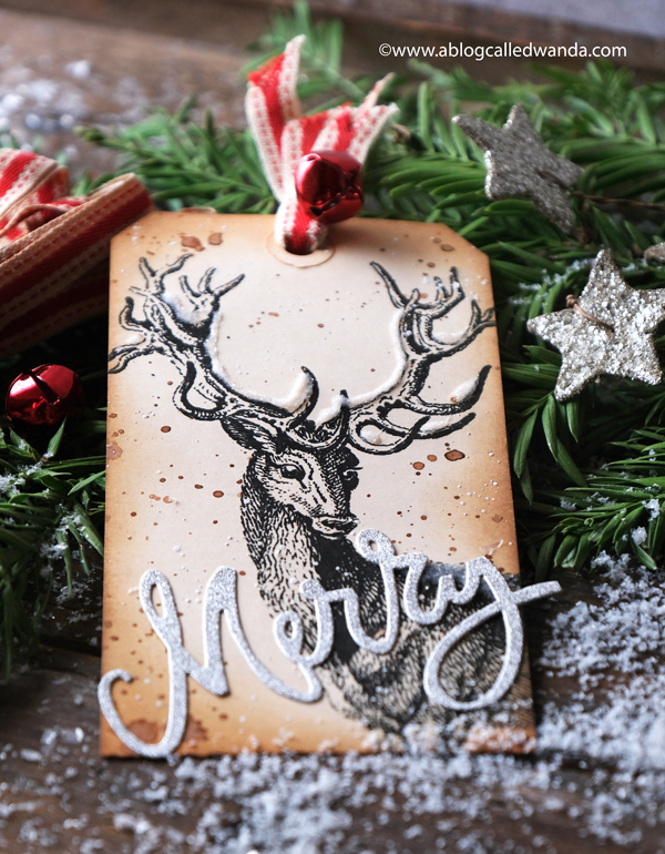 Tim Holtz, Christmas Tag, Sizzix, Handmade tags for Christmas, Vintage tags, Papercrafting, diy, crafts, stamping, die cutting, Make your own tags, Vintage crafting, wanda Guess, A Blog called Wanda