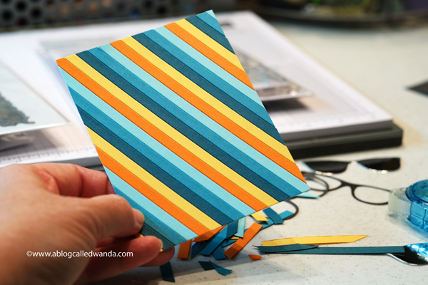 Paper stripes background with paper strips dies