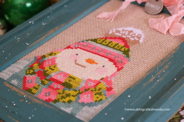 cross stitching, cross stitch, counted cross stitch, teresa kogut, stylin snowman pattern, dmc floss, ideas for framing cross stitch, wanda guess