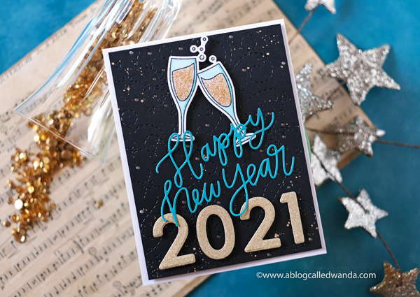 new years card, new year's eve, card, stamps, dies, champagne, pretty pink posh happy new year, ellen hutson twirling flurries, new year card ideas, celebrate, papercrafting, handmade, wanda guess