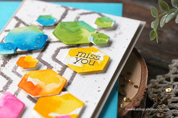 taylored expressions, taylored expressions card kit, card kits, happy hex card kit, hexagon dies, watercolors, mijello, wanda guess, slimline card, miss you card, watercolor card, card layout ideas, a blog called wanda