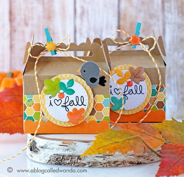 Doodlebug treat boxes for fall. Lawn Fawn scalloped treat box.