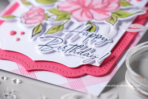 pinkfresh studio, new stamps and dies, new release, pinkfresh studio stamps, roses, stencils, florals, handmade card, card ideas, card layout, happy birthday sentiments, choose hope stamps dies and stencils, curvy leaves, blog hop, wanda guess