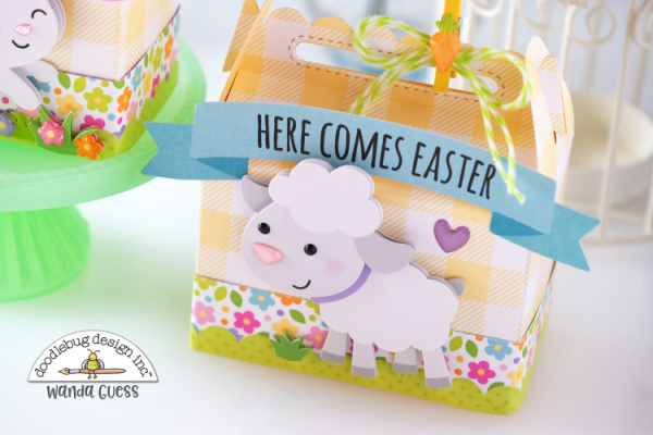 Doodlebug Design, Doodlebug paper, Doodlebug Easter, Hippity Hoppity collection, Easter treat boxes, Lawn Fawn Scalloped Treat Box, ideas for Easter, Easter crafts, treat box, wanda guess, a blog called wanda, doodlebug design team