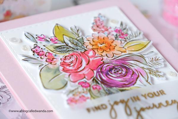 pinkfresh studio, pinkfresh studio washi tape, joyful bouquet, cardmaking, washi tape ideas, flowers, florals, card ideas, handmade, new products, clean and simple cards, wanda guess, a blog called wanda