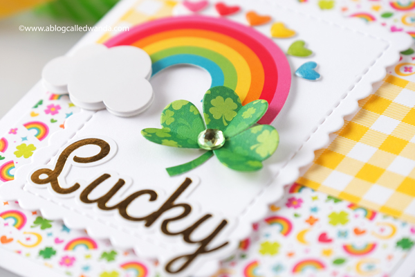 doodlebug designs, doodlebug paper, doodlebug lots o' luck, doodlebug gingham, st. patrick's day card, card ideas, shamrock from paper, lucky, handmade cards, rainbow card, card layout, wanda guess, a blog called wanda