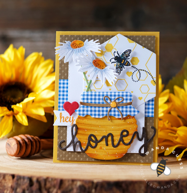 hero arts, a blog named hero, anniversary hop, Instagram hop, hey honey, honey card, handmade card, Hero Arts stamps and dies, Hero Arts Bees and Flowers, Hero Arts abstract honeycomb background stamp, hero arts honey pot fancy dies, gingham, card ideas, bees card, card layouts, wanda guess, a blog called wanda, a blog named hero