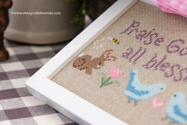 cross stitching, cross stitch, counted cross stitch, easter, spring, home decor for easter, spring doxology by rabbit valley studio, rabbit valley studio cross stitch, bunnies, faith, wanda guess, a blog called wanda