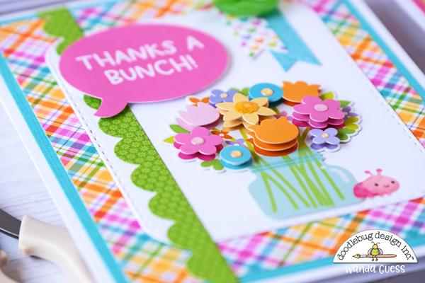 doodlebug, doodlebug design, doodlebug fairy garden collection, cards, birthday card, thank you card, borders dies, doodle pops, card trio, wanda guess, a blog called wanda