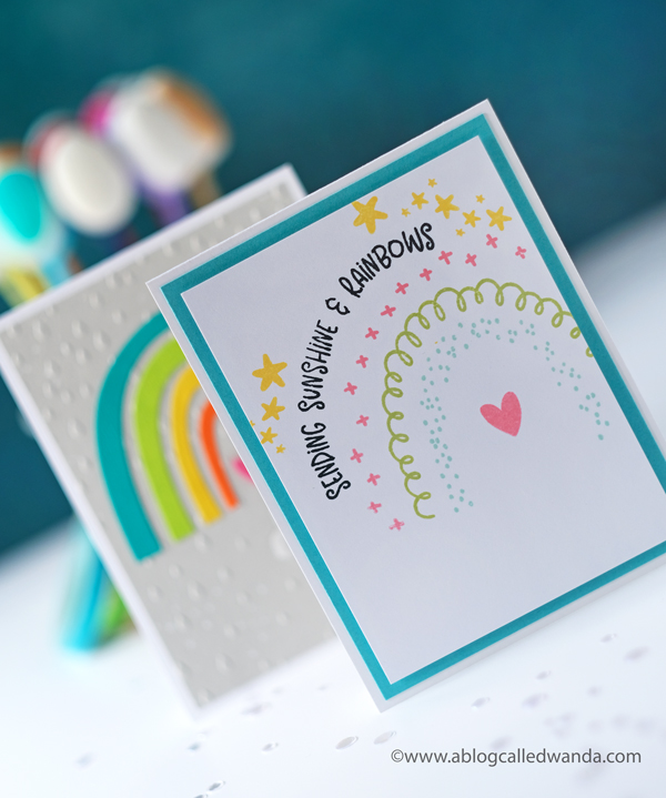 Taylored Expressions new card kit. Somewhere over the rainbow card kit. Rainbow stamps and dies. Handmade cards. Wanda Guess