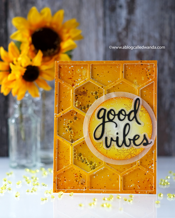 Pinkfresh Studio new release blog hop. Hexagon stamps and dies. Sentiment phrases. Vellum, Honeycomb card, Distress Ink blending, shaker card ideas, wanda guess