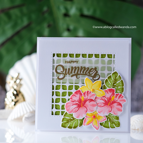 sunny studio stamps, new release, summer, tropical, hawaii, stamps, dies, coastal cuties stamp set, hawaiian hibiscus stamp set, plumeria stamp set, best fishes stamp set, flamingos stamp set, copics, summer card ideas, handmade cards, embossing, fun stamps, card ideas and layouts, copic markers tips, wanda guess