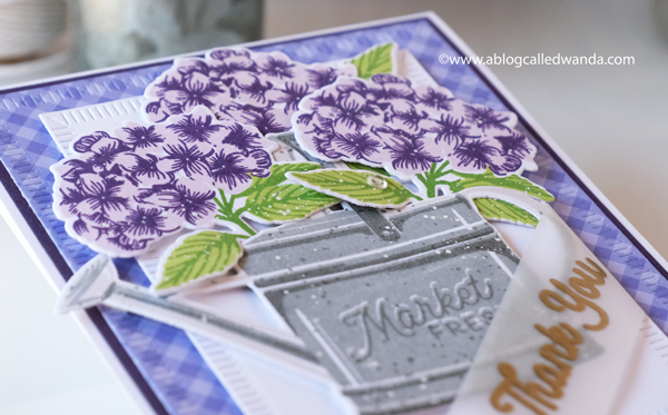 The Greetery new release destination summer july 2020. Budding Beauties Summer stamp set, Sprinkled with Kindness stamps and dies, Petite Eucalyptus stamp set and dies. Gingham paper. Card layouts flowers. Wanda Guess. Hydrangea card with watering can stamps and dies.