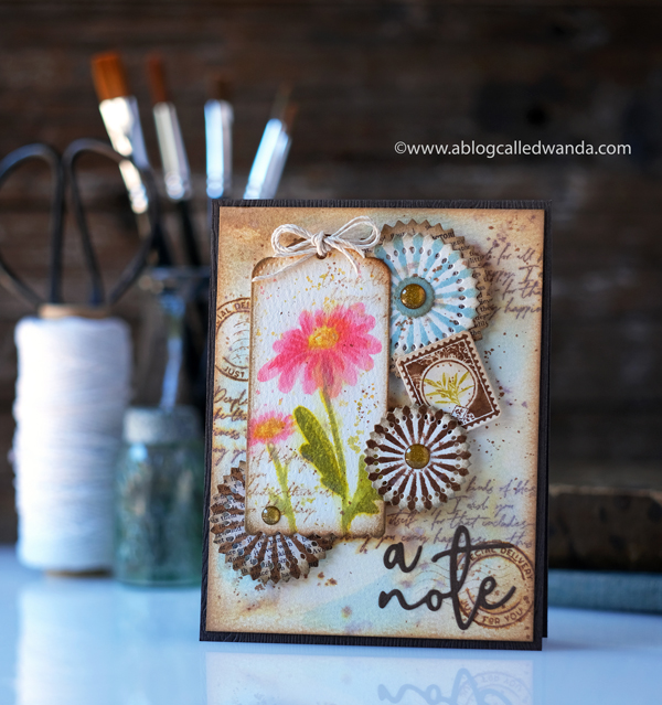 The Greetery Inspiration Friday. The Greetery Design Team. Distress Inks. Vintage theme card with stamps and dies. Watercolor with distress ink. The Greetery Oopsie Daisy, The Greetery Pretty Postmarks, The Greetery Pinwheel Party, The Greetery Speed Tagging. Wanda Guess Card layout ideas