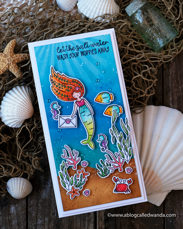 Waffle Flower Mermaid Mail stamp set, Waffle Flower Under the Sea Sentiments, Waffle Flower Sea Birthday, clear enamel dots, distress ink blending, ocean theme card, Mermaid Card, Slimline card, Wanda Guess