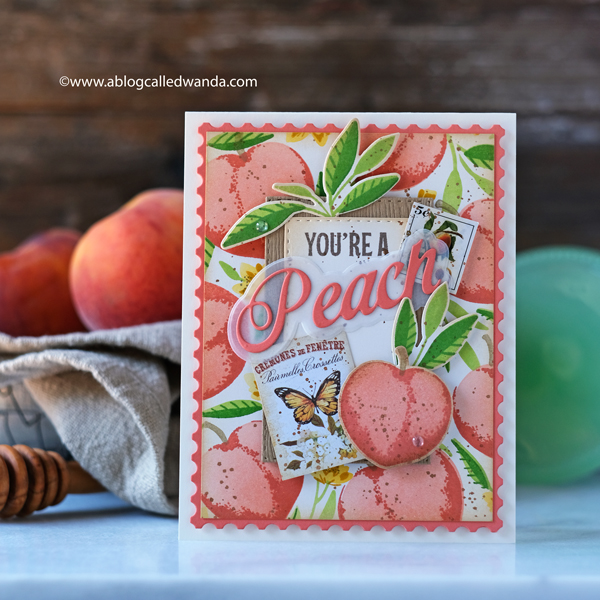 The Greetery new release destination summer july 2020. The Greetery Peachy Keen, Just Peachy, Create a Crate stamps and dies. Peach stamp set. Peaches stencils. Treat and favor box ideas. Farmers market card. Prima Fruit Paradise stickers and paper. Wanda Guess.