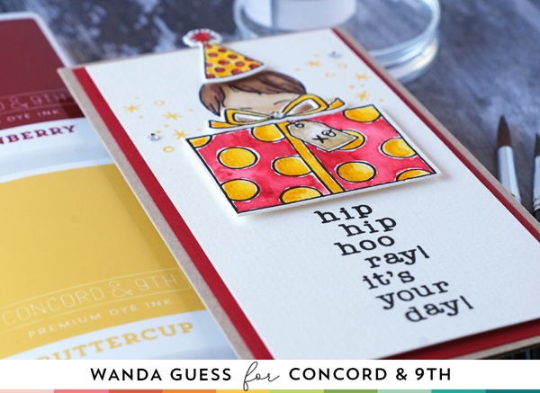 Concord & 9th Feature Friday. Watercolor with ink pads! New color collection from Concord and 9th. Winter Wear, Daily Wear, Fashion Wear. Birthday card ideas, slimline card ideas, wanda guess.