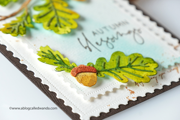 The Greetery new release fall 2020. Gathered Blessings Release. Might Oak Botanicuts, Fall card ideas, Postage stamp dies, pretty postmarks, Mijello water colors, autumn card ideas, wanda guess
