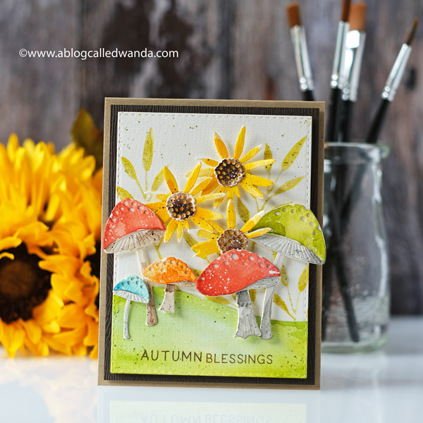 The Greetery new release fall 2020. Gathered Blessings Release. Toadstool Garden dies, botanicuts, sunflower dies, watercolor card ideas, Mijello water colors, card layouts, mushrooms dies, die cuts, Wanda Guess