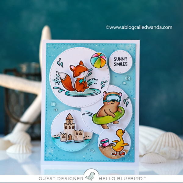 Hello Bluebird Stamps, Beach play stamp set, come on in stamp set, copic markers, distress ink blending, beach card, handmade card ideas, wanda guess