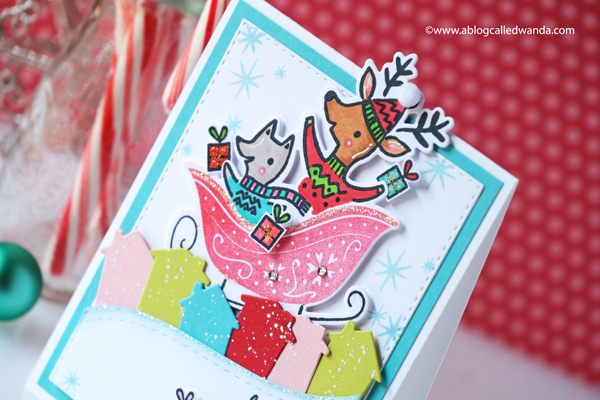 Pinkfresh Studio winter 2020 new release. Pinkfresh Studio Sleigh Bells, Pinkfresh Studio Our home to yours, copics, Christmas card ideas, stamping, die cutting, wanda guess, blog hop