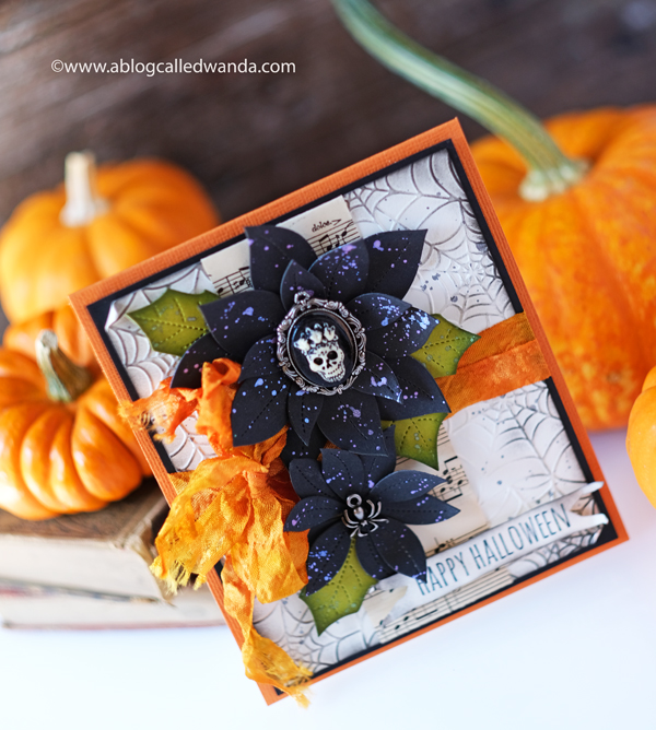 Halloween card ideas. Pretty Pink Posh, Tim Holtz, Distress Inks, Webs embossing folder, Taylored Expressions, Hand dyed ribbon, Halloween charms. Wanda Guess