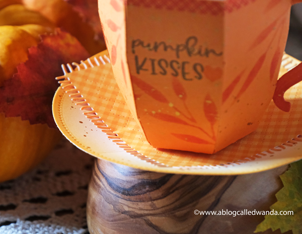 The Greetery Hug in a Mug stamps and dies. 3D coffee cup dies, Treat ideas, Fall crafting, pumpkin spice latte, paper crafting, stamping, treat favors and boxes. Thanksgiving and Autumn. Wanda Guess