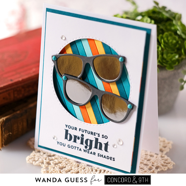 Concord & 9th new release, Concord and 9th stamps and dies, Bright Eyes bundle stamps and dies, sunglasses card, stripes card ideas, sunglasses die, wanda guess