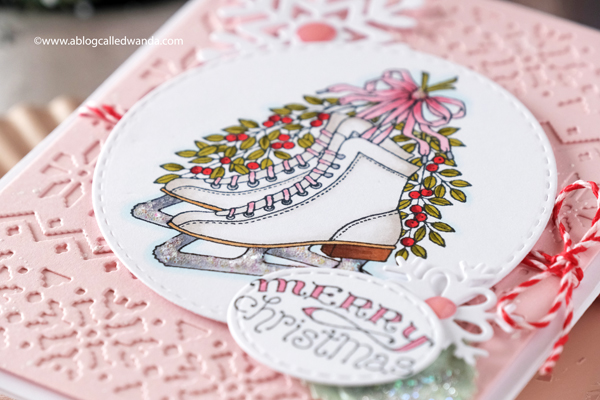 pink ink stamps ice skates, christmas card, taylored expressions sweater weather cutting plate, taylored expressions snowflakes, christmas card, stamping, copics, card ideas, handmade cards, snowflake dies, pink christmas cards, card layout, wanda guess, a blog called wanda
