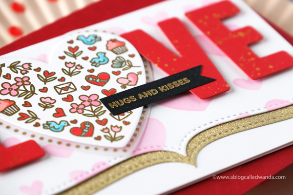 Pretty Pink Posh, new release, stamps, dies, valentine, love, copics, valentine card ideas, vellum, love dies, all my love stamps, borders, wanda guess, valentine ideas, card layouts, a blog called wanda