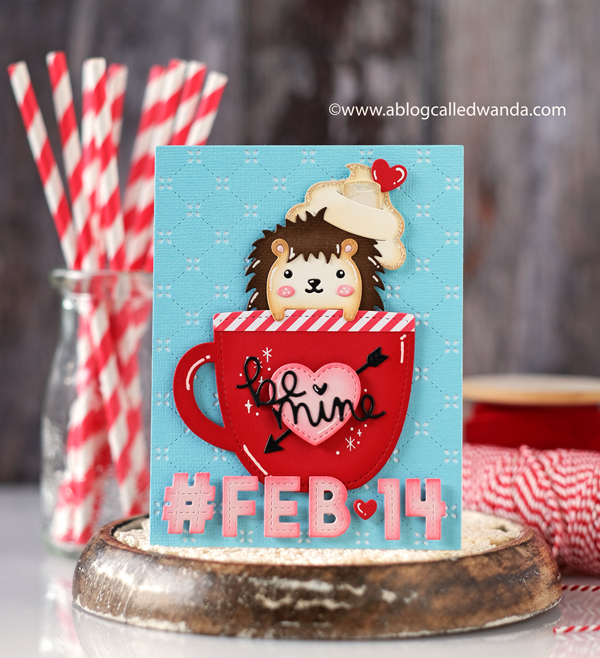 lawn fawn, lawn fawn card, card ideas, hedgehog, valentine, mug, quilted background, bee, tiny treat box, valentine card, stitched abc, oliver's, lawn fawn outside in mug, Hedgehog, valentine ideas, wanda guess, a blog called wanda