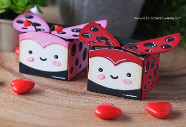lawn fawn, lawn fawn tiny gift box, lawn fawn gift box bee, lawn fawn gift box ladybug, treat boxes, stamps and dies, die cuts, ideas for party favors, candy treats, valentine treat ideas, handmade, paper crafts, valentine's day for kids, fun valentines, wanda guess, a blog called wanda