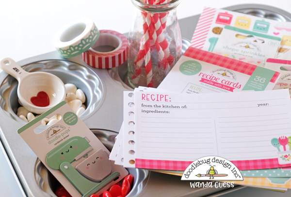 doodlebug design, doodlebug paper, doodlebug design team, Doodlebug made with love collection, handmade, papercrafting, recipe book, baking, cinch, hand binding, make your own recipe book, wanda guess, a blog called wanda