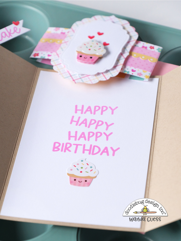 doodlebug design, doodlebug papers, doodlebug made with love collection, birthday card, gift card holder, handmade, pillow box punch board, doodlebug stamps and dies, cheerful birthday card, card ideas, stamping, die cutting, wanda guess, a blog called wanda