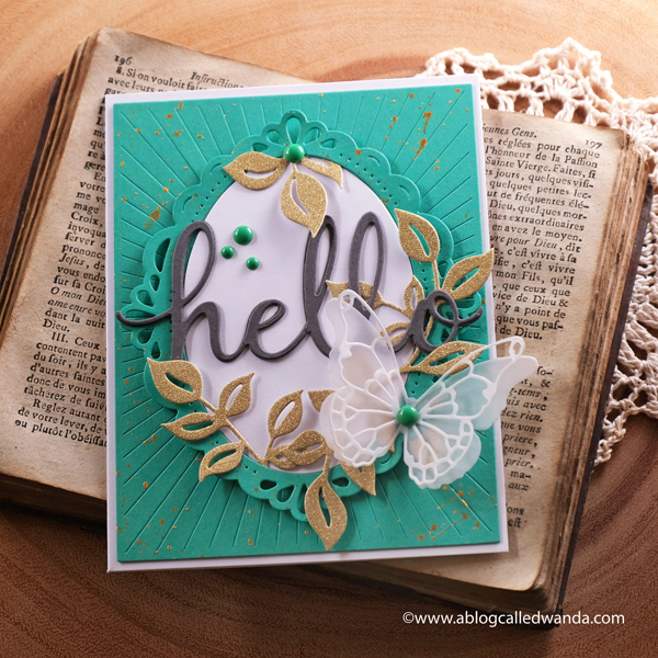 handmade card ideas, pinkfresh studio, dies, stamps, card, pinkfresh studio ornate oval, curvy leaves, radiating background, hello card, memory box butterfly dies, wanda guess, a blog called wanda