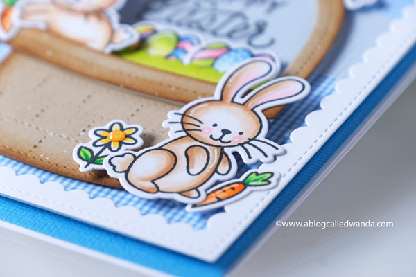 pretty pink posh, pretty pink posh new release, easter, spring, easter basket die, bunnies, watercolor, embossing, happy easter die, easter card ideas, copics, scallop frames, mijello, gingham, vellum, ppp instagram hop, wanda guess, a blog called wanda