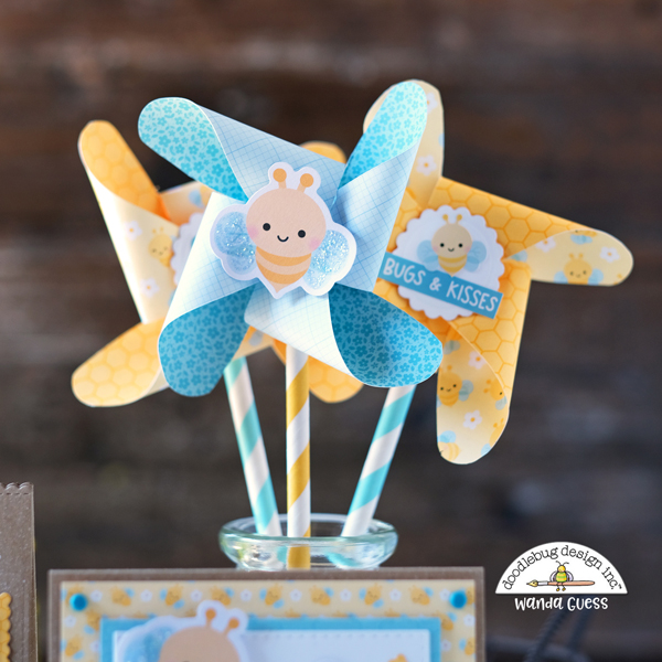 doodlebug, doodlebug paper, doodlebug scrapbooking, doodlebug design, fairy garden collection, bees, card, party favor bee theme, pinwheels, we r memory keepers pinwheel punch board, diy party, baby shower, birthday, crafting, paper, ideas, card layout, wanda guess, a blog called wanda