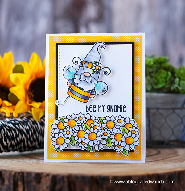 Jaded Blossom Stamps, Jaded Blossom Buzzing with my gnomies, gnome, stamps, dies, flowers, spring, bee, card layout, copic markers, card ideas, wanda guess, a blog called wanda