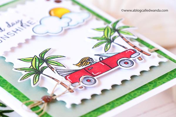 ellen hutson, new stamp release, essentials by ellen, good day stamp set, copics, summer, cards, diy, card ideas, Ellen Hutson new release, palm trees, handmade, Wanda Guess, A Blog Called Wanda