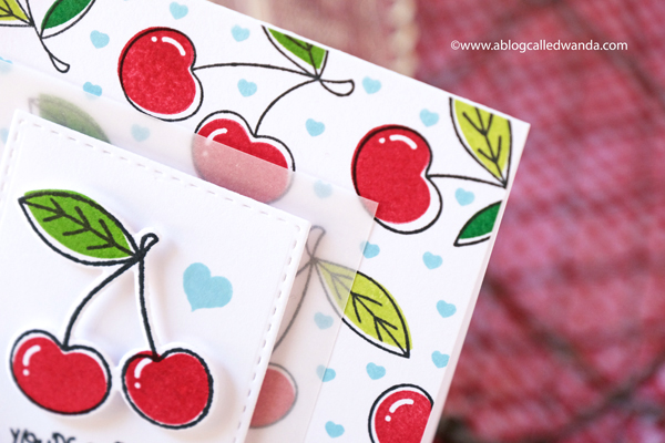 taylored expressions, card kit, te card kit, very cherry card kit, cherry stamps, stencils, die cuts, cards, polychromos on kraft, card ideas, cherry background stamp, wanda guess, a blog called wanda